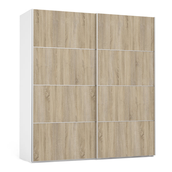 Verona Sliding Wardrobe 180cm in White with Oak Doors with 2 Shelves - Alidasa