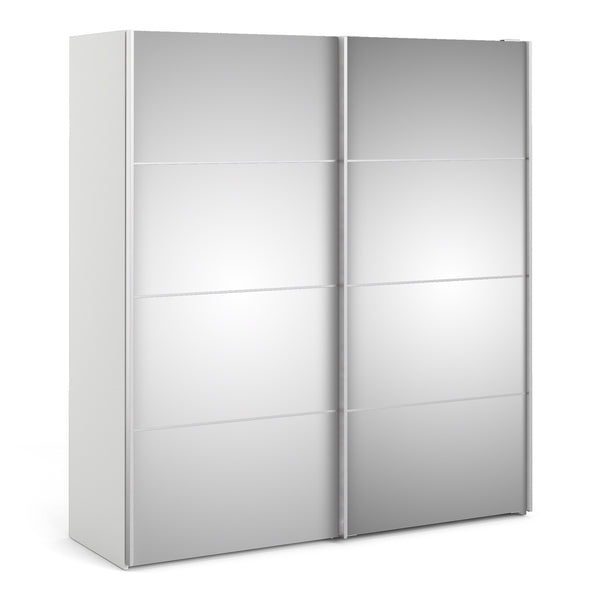Verona Sliding Wardrobe 180cm in White with Mirror Doors with 2 Shelves - Alidasa