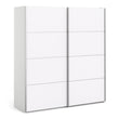 Verona Sliding Wardrobe 180cm in White with White Doors with 5 Shelves - Alidasa