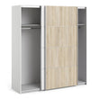 Verona Sliding Wardrobe 180cm in White with White and Oak doors with 2 Shelves - Alidasa