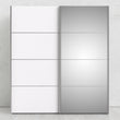 Verona Sliding Wardrobe 180cm in White with White and Mirror Doors with 2 Shelves - Alidasa