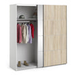 Verona Sliding Wardrobe 180cm in White with Oak and Mirror Doors with 2 Shelves - Alidasa