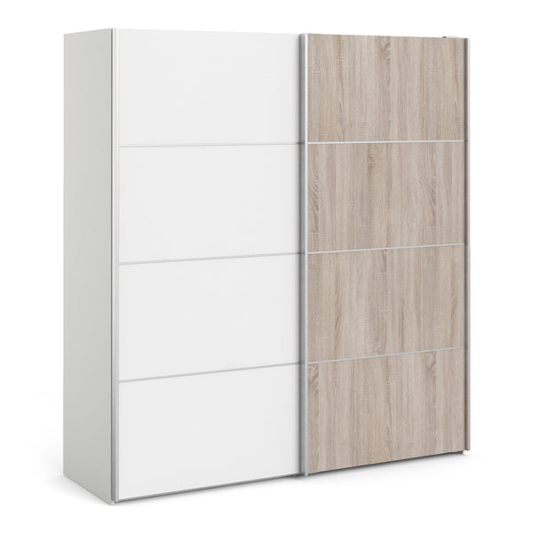 Verona Sliding Wardrobe 180cm in White with White and Truffle Oak Doors with 5 Shelves - Alidasa