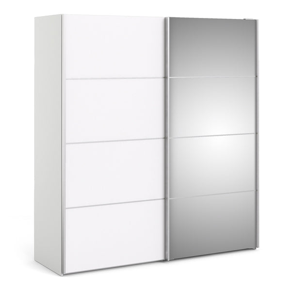 Verona Sliding Wardrobe 180cm in White with White and Mirror Doors with 5 Shelves - Alidasa