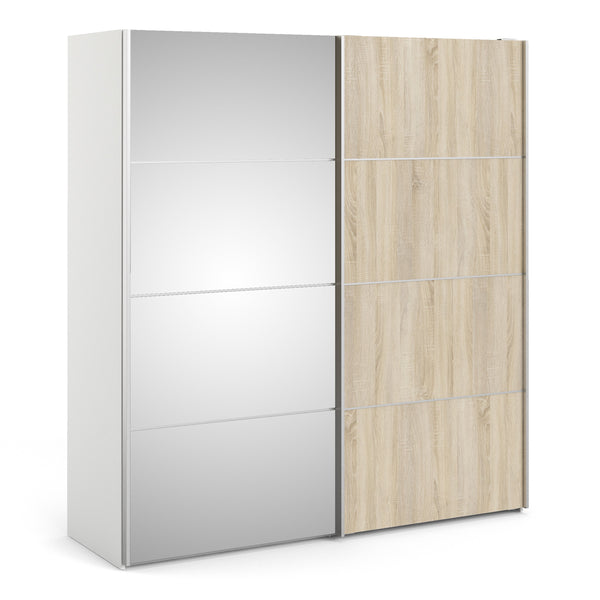 Verona Sliding Wardrobe 180cm in White with Oak and Mirror Doors with 5 Shelves - Alidasa