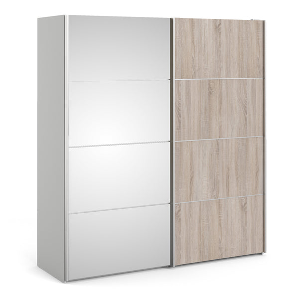 Verona Sliding Wardrobe 180cm in White with Truffle Oak and Mirror Doors with 5 Shelves - Alidasa