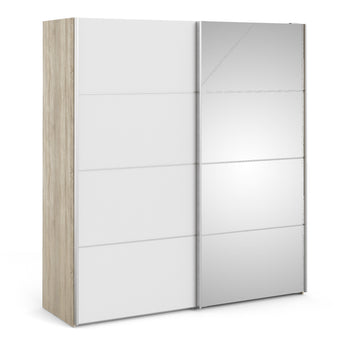 Verona Sliding Wardrobe 180cm in Oak with White and Mirror Doors with 2 Shelves - Alidasa