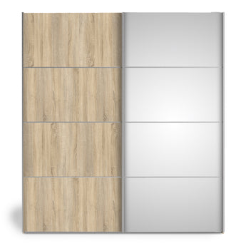 Verona Sliding Wardrobe 180cm in Oak with Oak and Mirror Doors with 2 Shelves - Alidasa