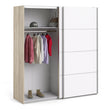 Verona Sliding Wardrobe 180cm in Oak with White Doors with 5 Shelves - Alidasa