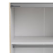 Verona Sliding Wardrobe 180cm in Oak with White and Mirror Doors with 5 Shelves - Alidasa