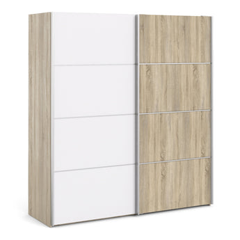 Verona Sliding Wardrobe 180cm in Oak with White and Oak doors with 5 Shelves - Alidasa