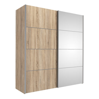 Verona Sliding Wardrobe 180cm in Oak with Oak and Mirror Doors with 5 Shelves - Alidasa