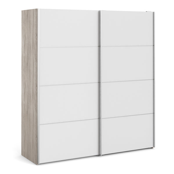 Verona Sliding Wardrobe 180cm in Truffle Oak with White Doors with 2 Shelves alidasa.myshopify.com