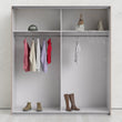 Verona Sliding Wardrobe 180cm in Truffle Oak with White Doors with 2 Shelves - Alidasa
