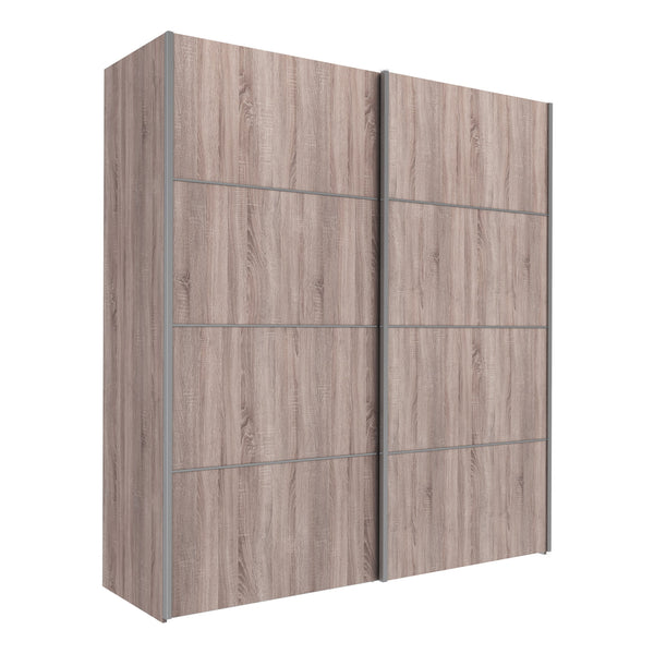 Verona Sliding Wardrobe 180cm in Truffle Oak with Truffle Oak Doors with 2 Shelves - Alidasa