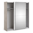 Verona Sliding Wardrobe 180cm in Truffle Oak with White and Mirror Doors with 2 Shelves - Alidasa