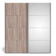Verona Sliding Wardrobe 180cm in Truffle Oak with Truffle Oak and Mirror Doors with 2 Shelves - Alidasa
