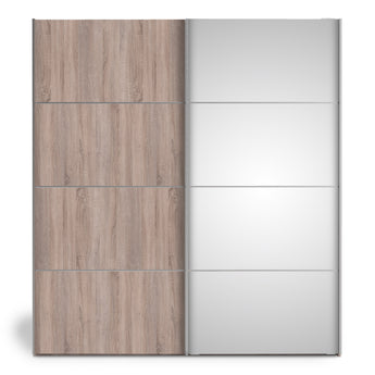 Verona Sliding Wardrobe 180cm in Truffle Oak with Truffle Oak and Mirror Doors with 2 Shelves alidasa.myshopify.com