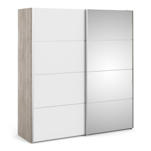 Verona Sliding Wardrobe 180cm in Truffle Oak with White and Mirror Doors with 5 Shelves - Alidasa