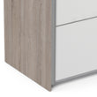 Verona Sliding Wardrobe 180cm in Truffle Oak with White and Truffle Oak doors with 5 Shelves - Alidasa