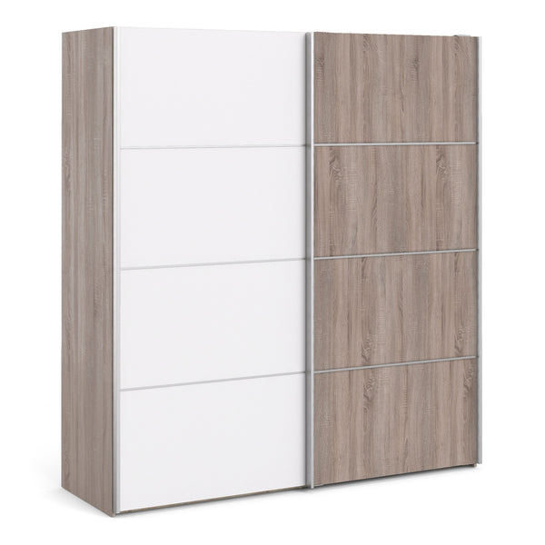 Verona Sliding Wardrobe 180cm in Truffle Oak with White and Truffle Oak doors with 2 Shelves - Alidasa