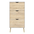 Oslo Shoe Cabinet 3 Drawers in White and Oak - Alidasa