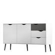 Oslo Sideboard - Large - 3 Drawers 2 Doors in White and Black Matt - Alidasa