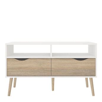 Oslo TV Unit 2 Drawers in White and Oak alidasa.myshopify.com