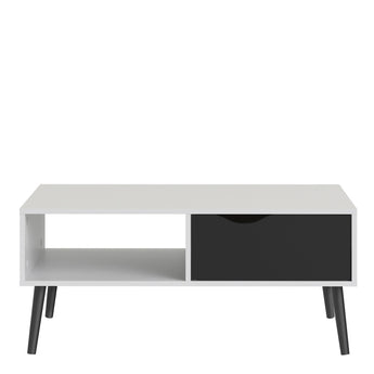 Oslo Coffee Table 1 Drawer 1 Shelf in White and Black Matt - Alidasa