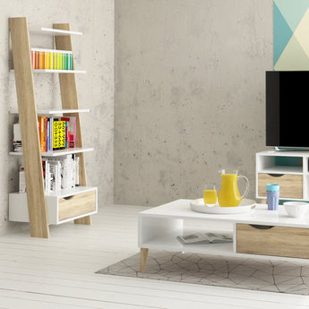 Oslo Leaning Bookcase 1 Drawer in White and Oak - Alidasa