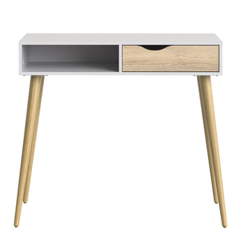 Oslo Console Table 1 Drawer 1 Shelf in White and Oak - Alidasa