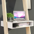 Oslo Leaning Desk in White and Oak - Alidasa