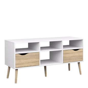 Oslo TV Unit - Wide - 2 Drawers 4 Shelves in White and Oak - Alidasa
