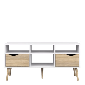 Oslo TV Unit - Wide - 2 Drawers 4 Shelves in White and Oak alidasa.myshopify.com
