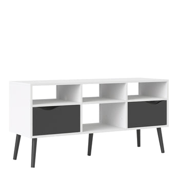 Oslo TV Unit - Wide - 2 Drawers 4 Shelves in White and Black Matt alidasa.myshopify.com