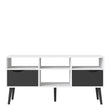 Oslo TV Unit - Wide - 2 Drawers 4 Shelves in White and Black Matt - Alidasa