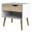 Oslo Bedside 1 Drawer in White and Oak - Alidasa