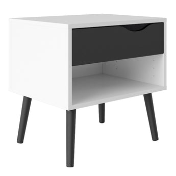 Oslo Bedside 1 Drawer in White and Black Matt - Alidasa