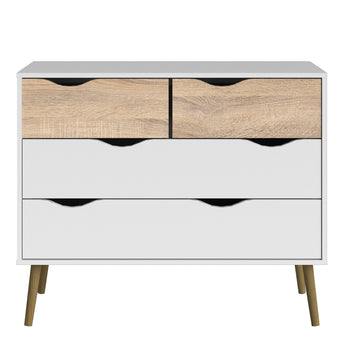 Oslo Chest of 4 Drawers (2+2) in White and Oak - Alidasa