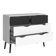 Oslo Chest of 4 Drawers (2+2) in White and Black Matt - Alidasa