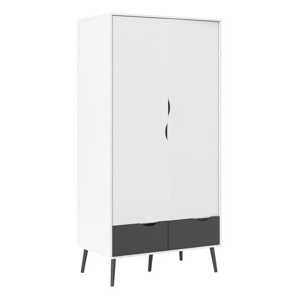 Oslo Wardrobe 2 Doors 2 Drawers in White and Black Matt - Alidasa