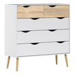 Oslo Chest of 5 Drawers (2+3) in White and Oak - Alidasa