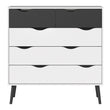 Oslo Chest of 5 Drawers (2+3) in White and Black Matt - Alidasa