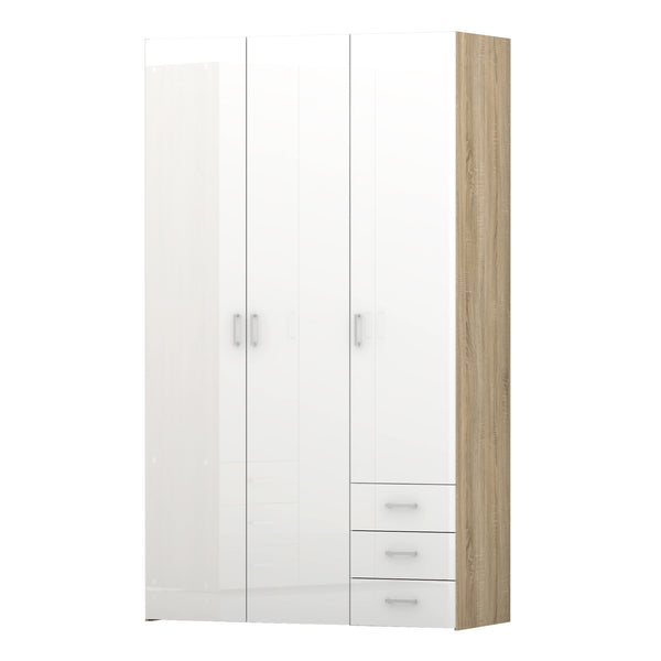 Space Wardrobe - 3 Doors 3 Drawers in Oak with White High Gloss - Alidasa