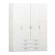 Space Wardrobe - 4 Doors 3 Drawers in White - Alidasa