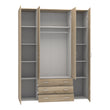 Space Wardrobe - 4 Doors 3 Drawers in Oak - Alidasa