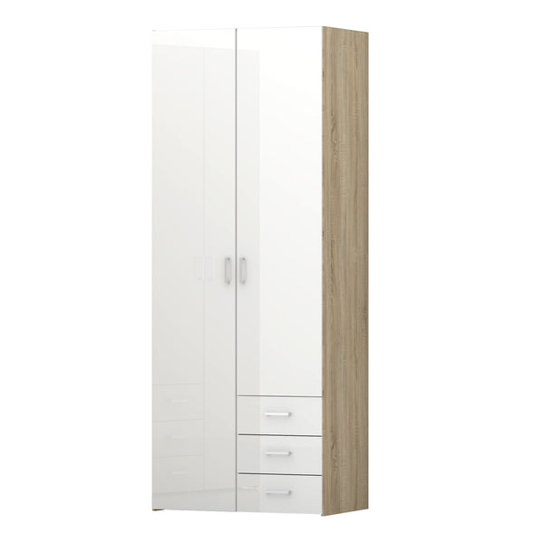 Space Wardrobe - 2 Doors 3 Drawers in Oak with White High Gloss - Alidasa