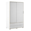 Line Wardrobe - 2 Doors 4 Drawers in White and Oak - Alidasa