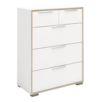Line Chest of 5 Drawers (2+3) in White and Oak alidasa.myshopify.com