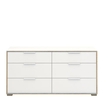 Line Wide Chest of 6 Drawers (3+3) in White and Oak alidasa.myshopify.com